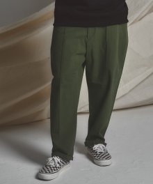 STG pintuck wide pants_KHAKI