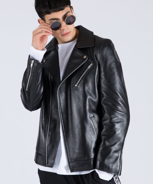 스텔라비(STELLA BE) MENs REAL LAMBSKIN RIDERs JACKET (BLACK)