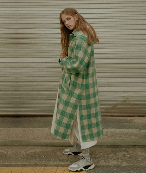 누엔(NOUVENE) Denver Pattern Single Coat (WOMEN) Green