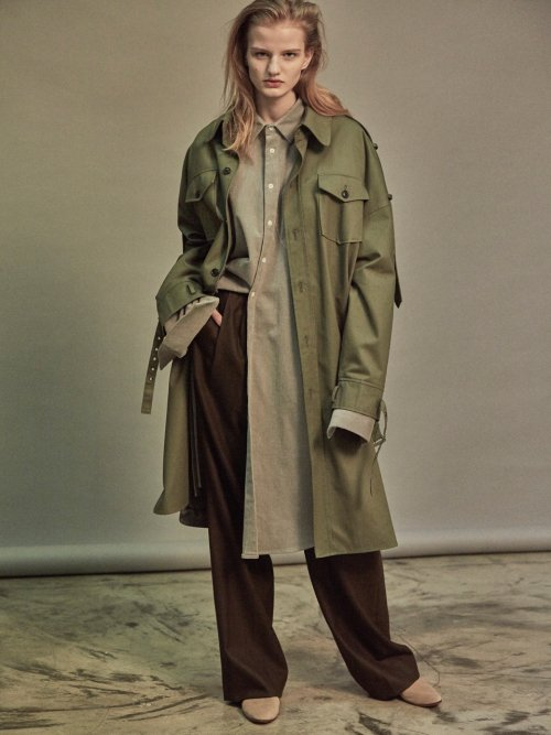 노앙(NOHANT) OVERSIZED SHIRT TRENCH COAT KHAKI