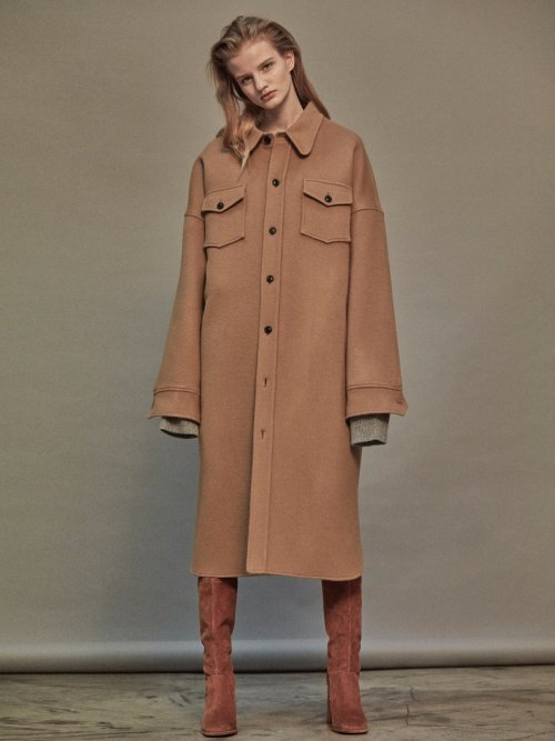 노앙(NOHANT) OVERSIZED WOOL SHIRT-COAT BEIGE
