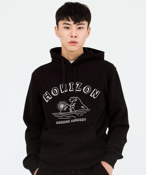 커먼가먼트(COMMONGARMENT) [1000g] HORIZON HOODIE -BLACK-
