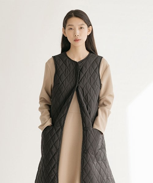 논로컬(NONLOCAL) Quilted Long Vest - Black