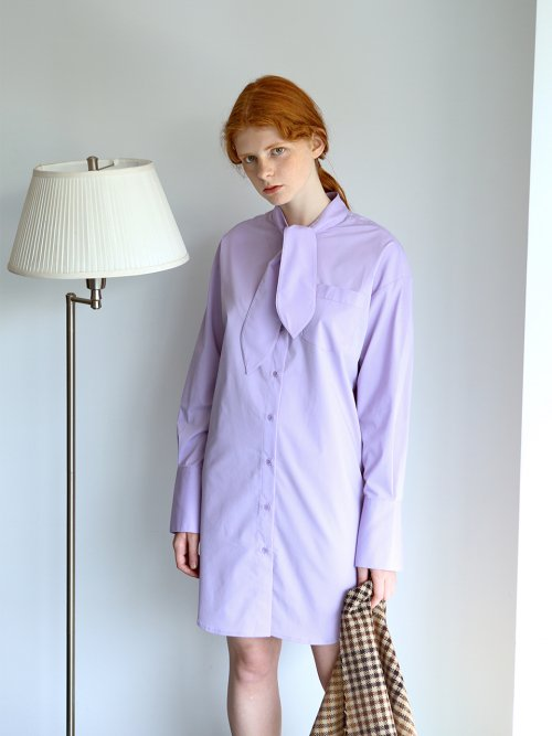니나노사노(NINANOSANO) tie-neck shirt dress VIOLET