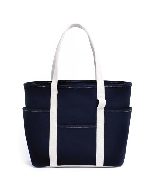 마지언타이틀(MAZI UNTITLED) Cafe Tote (Navy / Ecru)