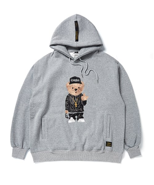 스티그마(STIGMA) EMB COMPTON BEAR OVERSIZED HEAVY SWEAT HOODIE GREY