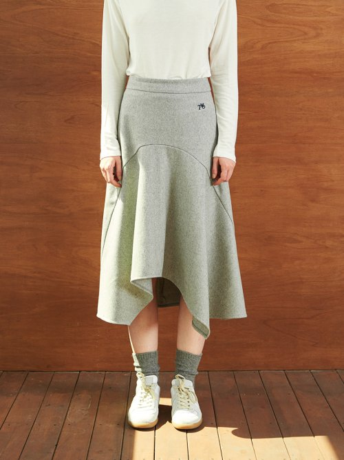 티엠오 바이 써틴먼스(TMO BY 13MONTH) WOOL MERMAID FRILL SKIRT (GRAY)