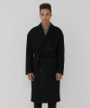 BLACK BELTED DOUBLE BREASTED COAT (TC1CTUW1007)