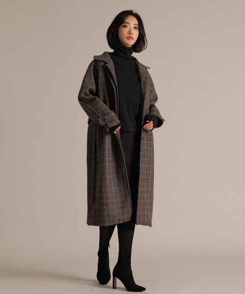 리올그(REORG) OVERSIZE STRAP GLEN CHECK COAT BROWN