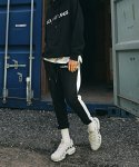 루블랑(LOUPS BLANCS) SIDE LINE ZIPPER TRACK PANTS [BLACK]