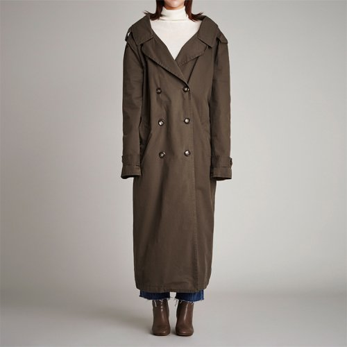세븐티스튜디오(SEVENTYSTUDIO) SV082 MAXI LONG SQUARE BELT TRENCH COAT-KHAKI
