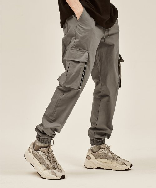 데드엔드(DEADEND) GRAY CARGO ZIPPER JOG PANTS v2