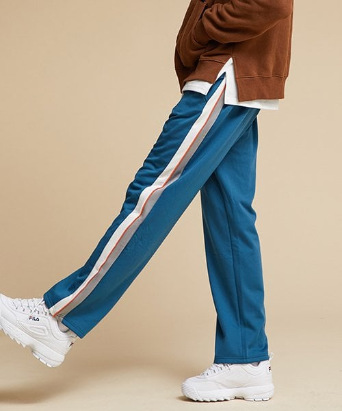 모티브스트릿(MOTIVESTREET) [기모추가]SIDE LINE TRACK PANTS TOPAZ
