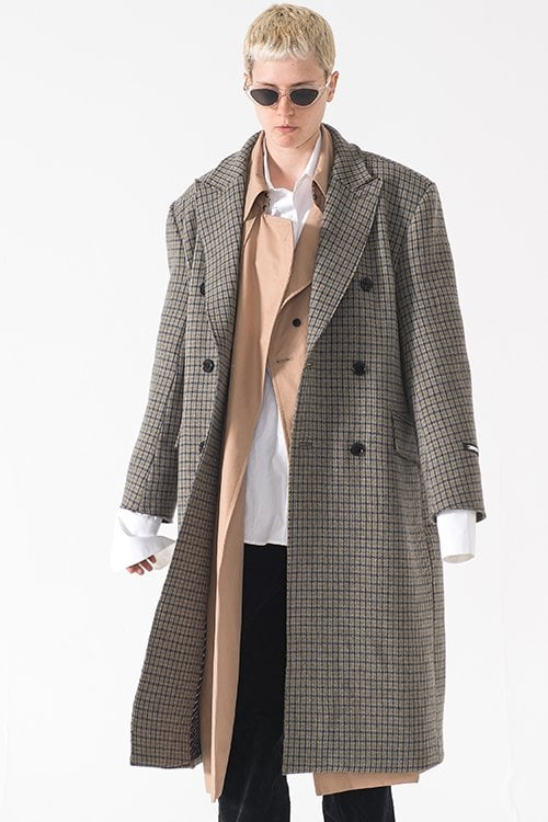 엠엠아이씨(MMIC) (유니섹스)RAW CUT PURE WOOL COAT (GRAY)