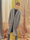 에이글로우(AGLOWW) [UNISEX] CHECK WOOL SINGLE COAT_GREY