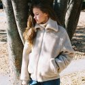 노미나떼(NOMINATE) FAKE WOOL FUR BOMBER JACKET BEIGE (WOMEN)