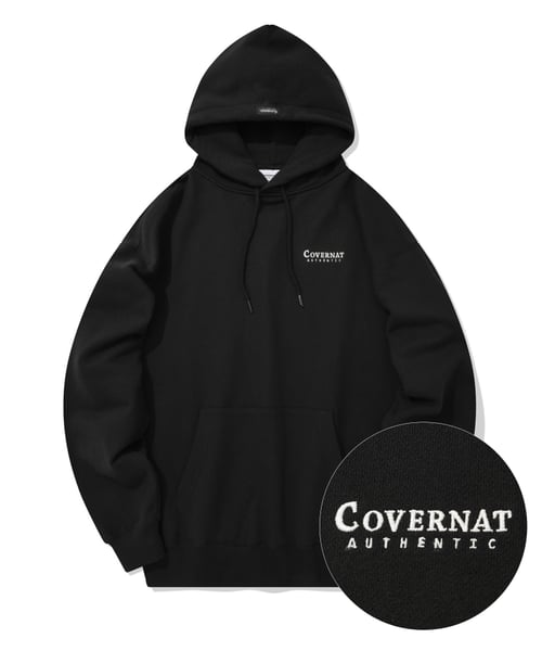 커버낫(COVERNAT) SMALL AUTHENTIC LOGO HOODIE BLACK