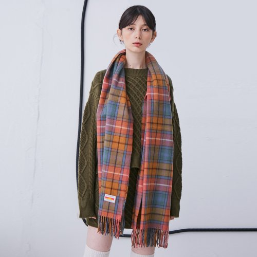 어나더에이(ANOTHER A) Check Shawl Muffler [Ivory/Orange/Navy]