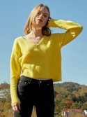 레이브(RAIVE) Textured V Neck Knit (Yellow)_VK8WP0500