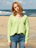 레이브(RAIVE) Textured V Neck Knit (L/Green)_VK8WP0500