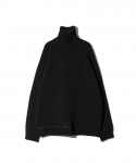 HIGH COLLAR ZIP KNIT / BLACK