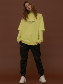 딤에크레스(DIM. E CRES) DIM. x ATMOS  HIGH NECK LAYERED WARM T-SHIRTS_NEON