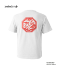 "모노파틴(MONOPATIN) night light ""bamboo"" scotchlite octagon logo t shirt – white/red"