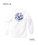 "모노파틴(MONOPATIN) night light ""wave"" scotchlite octagon logo shirt – white/skyblue"