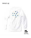 "모노파틴(MONOPATIN) night light ""flower"" scotchlite octagon logo shirt – white/blue"