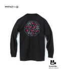 "모노파틴(MONOPATIN) night light ""flower"" scotchlite octagon logo shirt – black/pink"