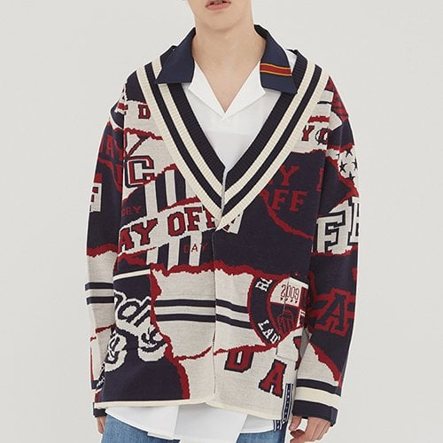 로맨틱크라운(ROMANTIC CROWN) 10th Jacquard Cardigan_Navy