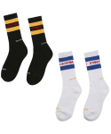 러브이즈트루 스트릿() [2 SET] LIT/S STREET LINE SOCKS (WHITE/BLACK)