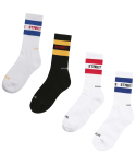 러브이즈트루 스트릿(LUVISTRUE STREET) [4 SET] LIT/S STREET LINE SOCKS (WHITE/BLACK/RED/BLUE)