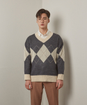 에이본() Argyle V neck knit (Grey)