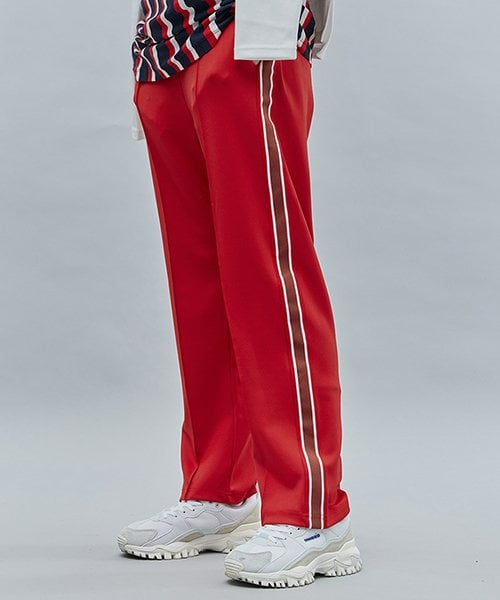 모티브스트릿(MOTIVESTREET) LINE TAPE TRACK PANTS RED