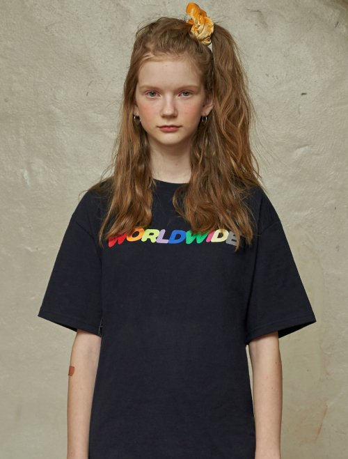 아메스 월드와이드(AMES-WORLDWIDE) RAINBOW WORLDWIDE DREAM LOGO T-SHIRTS/NV