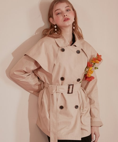 몬츠(MONTS) 882 sailor collar short trench coat (beige)