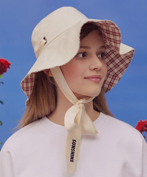 로라로라(ROLAROLA) (CH-19103) REVERSIBLE CHECK FLARE BUCKET HAT IVORY