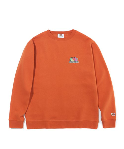 프룻오브더룸(FRUIT OF THE LOOM) OUT LINE LOGO CREWNECK ORANGE