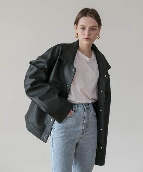 레이디 볼륨(LADY VOLUME) [남여공용]overfit big pocket leather trucker jacket