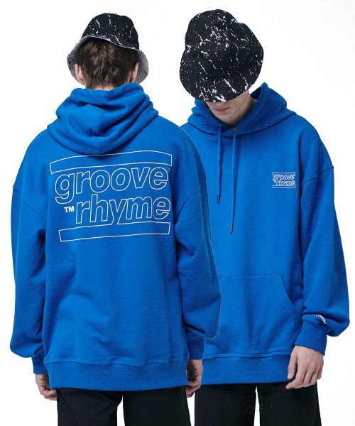 그루브라임(GROOVE RHYME) OVER FIT BACK BIG LOGO HOODY  (BLUE) [GHD001H13BL]