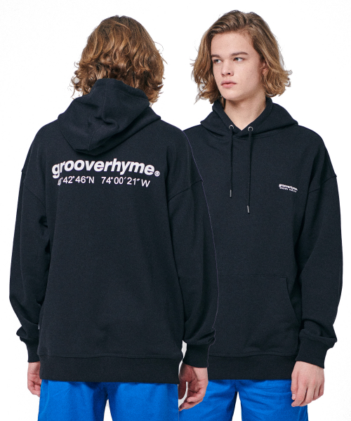 그루브라임(GROOVE RHYME) OVER FIT BASIC LOGO HOODY (BLACK) [GHD002H13BK]
