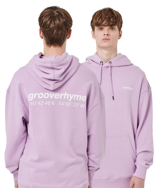 그루브라임(GROOVE RHYME) OVER FIT BASIC LOGO HOODY (LIGHT PURPLE) [GHD002H13LU]