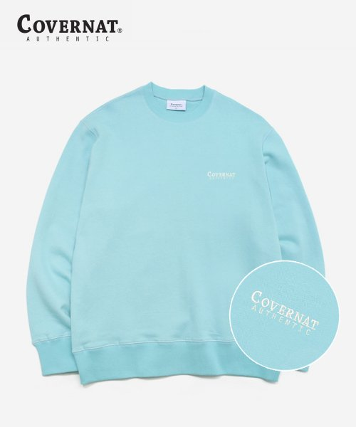 커버낫(COVERNAT) SMALL AUTHENTIC LOGO CREWNECK CORAL BLUE