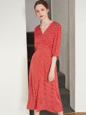 룩캐스트() RED V NECK PRINTING LONG DRESS