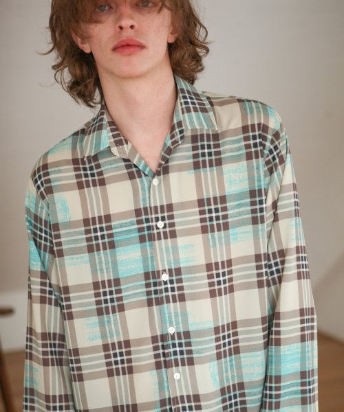 트립르센스(TRIP LE SENS) PAINTED CHECK SHIRTS BEIGE