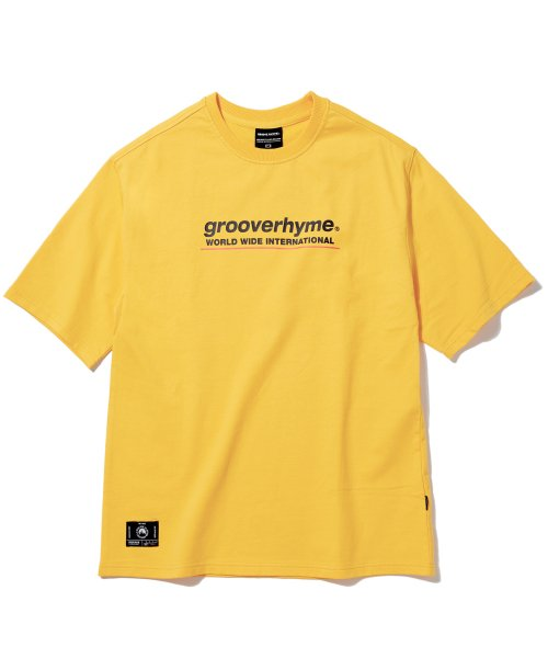 그루브라임(GROOVE RHYME) (미니쭈리 7부 오버핏) BASIC LOGO SLEEVE OVER FIT T-SHIRT (YELLOW) [GTS001H13YE]