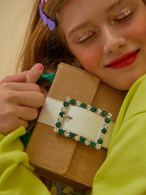 하이칙스(HIGH CHEEKS) Lady Embellished Pocket Bag_Raffia Green