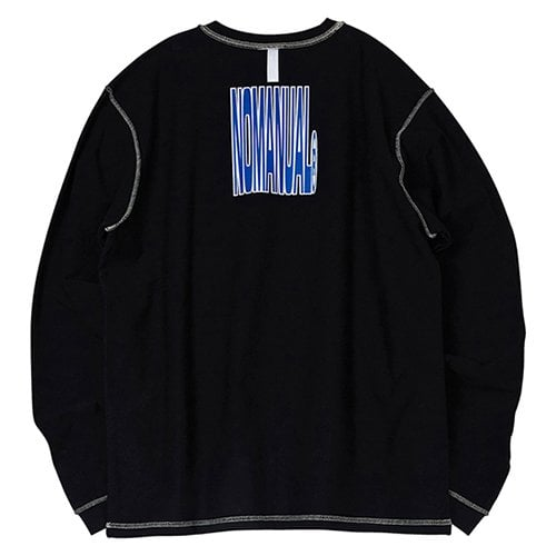 노매뉴얼(NOMANUAL) NM REVERSED LONG SLEEVE TEE - BLACK