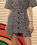 로라로라(ROLAROLA) (SK-19346) UNBALANCE BUTTON CHECK SKIRT NAVY